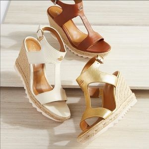 Coach Leeanne Leather White Wedges
